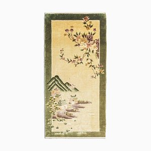 Chinese Yellow-Beige Silk Rug with Border & Motif, 1990s