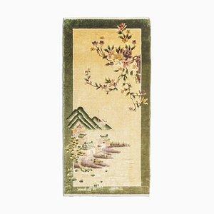 Chinesischer Beiger Seidenfellteppich mit Rahmen & Motiv, 1990er