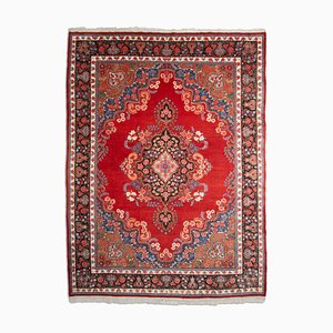 Middle East Floral Wine Red Rug with Medallion and Border, 1960s