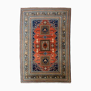 Middle East Geometric Rusty Red Rug with Medallion, Border & Motif, 1960s