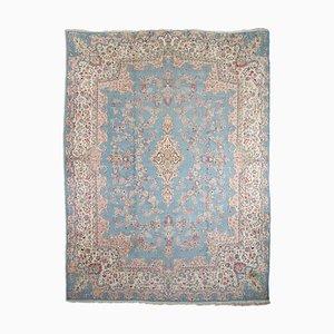 Blauer floraler Middle East Teppich mit Border & Medaillon, 1950er