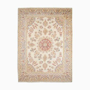 Floral Beige Kerman Rug with Border, Medaillon & Paisley, 1960s