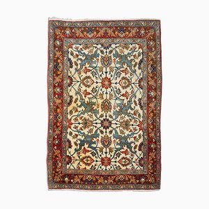 Middle East Floral Yellow-Beige Rug with Border, 1950s