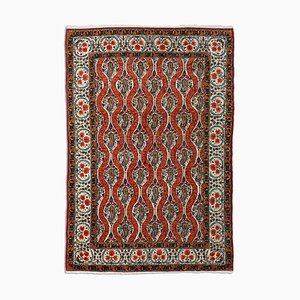 Middle East Floral Light Red Rug with Border, 1940s