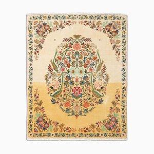 Orientalischer Floraler Beiger Teppich mit Medaillon & Paradiesgarten Muster, 1940er