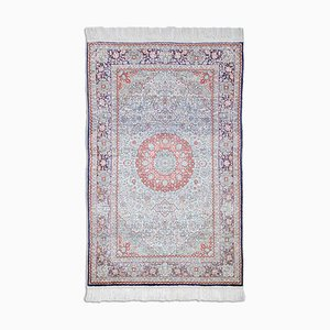 Chinese Floral Off-White Silk Hereke Rug with Border & Medallion, 1980s
