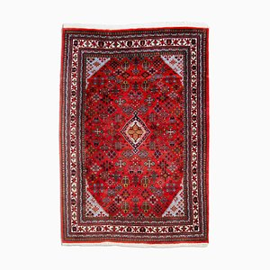 Middle East Geometric Rusty Red Rug with Border & Medallion, 1980s