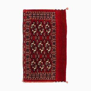 Antique Geometric Dark Red Tekke Rug with Border & Diamonds