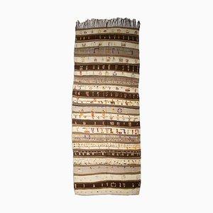 Moroccan Geometric Beige Kilim Carpet with Stripes, 1950s