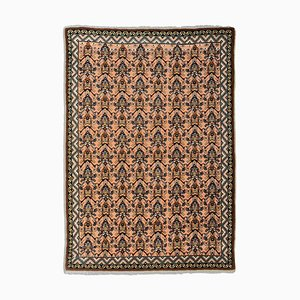 Moroccan Geometric Rose Oriental Rug with Border, 1970s