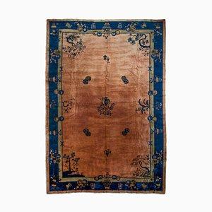 Antiker Chinesischer Rosen Teppich mit Border, Medallion & Motiv