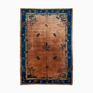 Antique Chinese Rose Rug with Border, Medallion & Motif