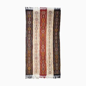 Patterned Beige Kilim Carpet with Diamonds & Stripes, 1920s