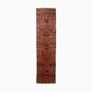 Middle East Floral Rusty Red Runner Carpet with Border, 1930s