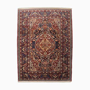 Floral Wine Red Hereke Rug with Border & Medallion, 1960s