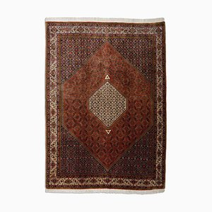 Middle East Geometric Rusty Red Rug with Border & Medallion, 1970s