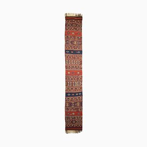 Geometric Rusty Red KIlim Runner Carpet with Diamonds & Stripes, 1950s