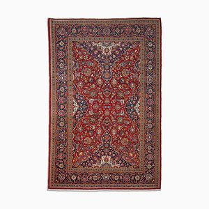 Middle East Floral Dark Red Pattern Rug with Central Medallion & Border, 1950s