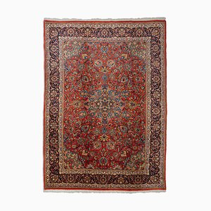 Light Red Floral Sarough Rug with Border and Medallion, 1950s