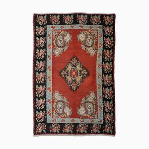 Floral Rusty Red Kilim Rug with Border and Medallion, 1940s