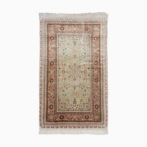 Chinese Floral Off-White Silk Hereke Rug with Border and Medallion, 1980s