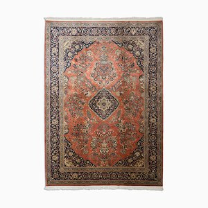 Floral Rusty Red Chinese Sarough Rug with Border and Medallion, 1990s