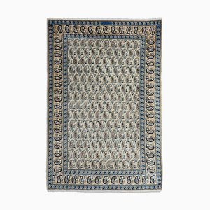 Middle East Geometric Grey & Beige Rug with Border and Medallion, 1940s