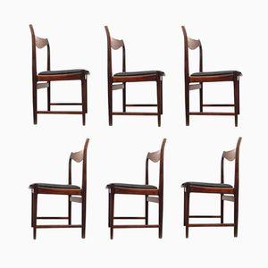 Chaises de Salon en Palissandre & Cuir par Torbjorn Afdal pour Nesjestranda Møbelfabrik, Set de 6