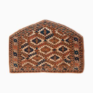 Antique Turkish Geometric Dark Brown Rug with Border and Diamonds