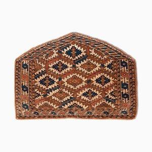 Türkischer Geometrischer Dunkelbrauner Antiker Teppich mit Borten & Diamanten