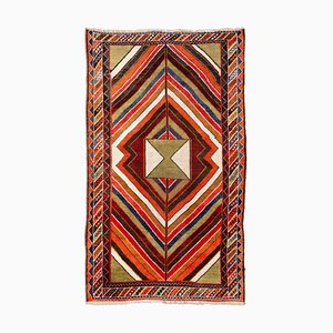 Geometric Olive Green Ghashgai Rug with Border, Medallion & Stripes, 1950s