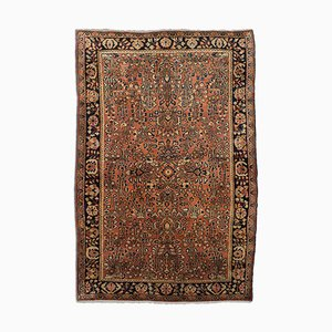 Floral Rusty Red Patterned Sarough Rug with central Medallion and Border, 1920s