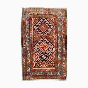 Antiker Geometrischer Dunkelblauer Kazak Teppich mit Border