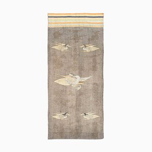 Antique Japanese Gray Kilim Runner Rug with Motif and Stripes