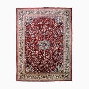 Floral Rusty Red Sarough Rug with Border and Medallion, 1960s