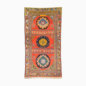 Antique Geometric Light Red Khotan Rug with Field Pattern, Border & Medallion