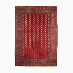 Geometric Wine Red Bokhara Rug with Border and Diamonds, 1970s
