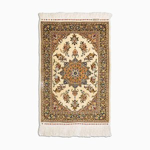 Floral Golden Beige Silk Hereke Rug with Gold Thread & Border and Medallion, 1980s