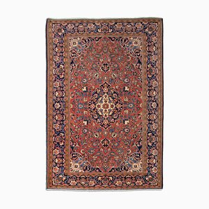 MIddle East Floral Rust Red Rug with Border and Medallion, 1920s