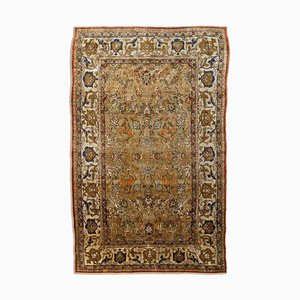 Floral Olive Green Patterned Silk Hereke Rug with Gold Thread & Central Medallion and Border, 1920s