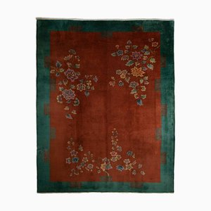 Chinese Floral Rusty Red Rug with Plain Border, 1930s