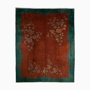 Rosarboter Rostroter Floraler Teppich mit Einfachen Bordüren, 1930er