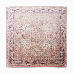 Chinese Floral Light Red Cotton Oriental Rug with Border & Medallion, 1980s