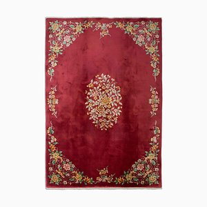 Chinese Floral Light Red Rug with Medallion, 1930s