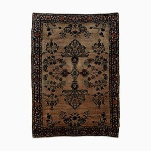 Antique Floral Light Brown Sarough Rug with Border and Medallion
