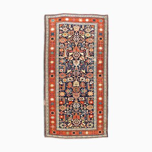 MIddle East Geometric Light Red Runner Rug with Border, 1920s