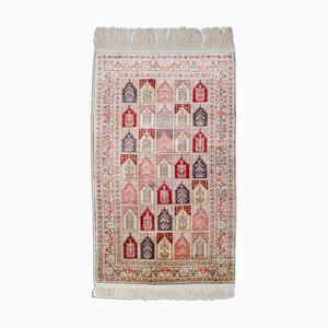Geometrischer Grauer Kayseri Teppich aus Seide mit Muster und Rahmen, 1980er