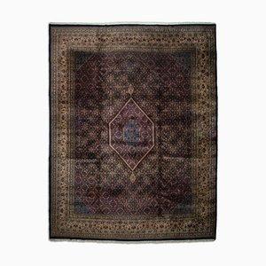 Dunkelblauer indischer Teppich mit Borde und Medaillon, 1970er