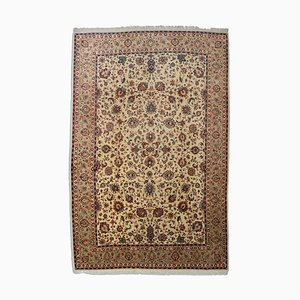 Floral Yellow Beige Sarough Rug with Border, 1960s