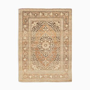 Antique Middle East Dark Brown Rug with Medallion and Border